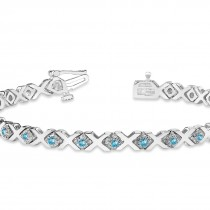 Blue Topaz XOXO Chained Line Bracelet 14k White Gold (1.50ct)|escape