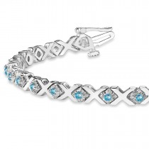 Blue Topaz XOXO Chained Line Bracelet 14k White Gold (1.50ct)