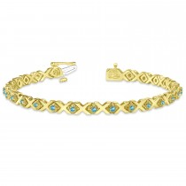 Blue Topaz XOXO Chained Line Bracelet 14k Yellow Gold (1.50ct)