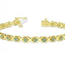 Blue Topaz XOXO Chained Line Bracelet 14k Yellow Gold (1.50ct)
