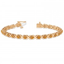 Citrine XOXO Chained Line Bracelet 14k Rose Gold (1.50ct)
