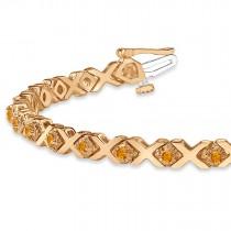 Citrine XOXO Chained Line Bracelet 14k Rose Gold (1.50ct)