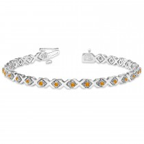 Citrine XOXO Chained Line Bracelet 14k White Gold (1.50ct)