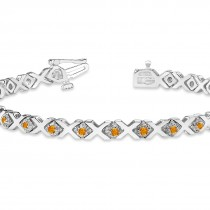 Citrine XOXO Chained Line Bracelet 14k White Gold (1.50ct)|escape