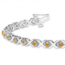 Citrine XOXO Chained Line Bracelet 14k White Gold (1.50ct)