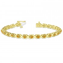 Citrine XOXO Chained Line Bracelet 14k Yellow Gold (1.50ct)