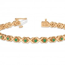 Emerald XOXO Chained Line Bracelet 14k Rose Gold (1.50ct)