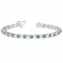 Emerald XOXO Chained Line Bracelet 14k White Gold (1.50ct)