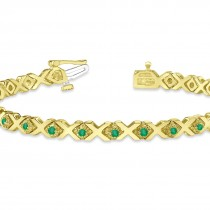 Emerald XOXO Chained Line Bracelet 14k Yellow Gold (1.50ct)