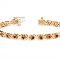Garnet XOXO Chained Line Bracelet 14k Rose Gold (1.50ct)