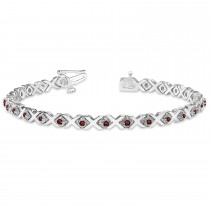 Garnet XOXO Chained Line Bracelet 14k White Gold (1.50ct)