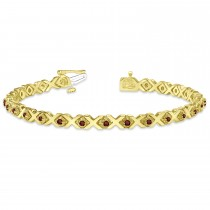 Garnet XOXO Chained Line Bracelet 14k Yellow Gold (1.50ct)