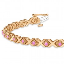 Pink Sapphire XOXO Chained Line Bracelet 14k Rose Gold (1.50ct)