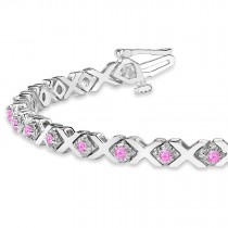 Pink Sapphire XOXO Chained Line Bracelet 14k White Gold (1.50ct)