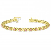 Pink Sapphire XOXO Chained Line Bracelet 14k Yellow Gold (1.50ct)
