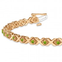 Peridot XOXO Chained Line Bracelet 14k Rose Gold (1.50ct)