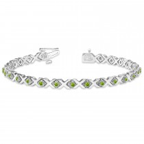 Peridot XOXO Chained Line Bracelet 14k White Gold (1.50ct)