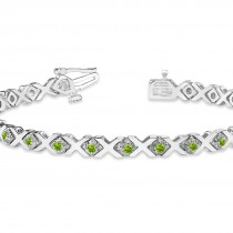Peridot XOXO Chained Line Bracelet 14k White Gold (1.50ct)