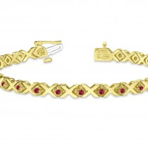 Ruby XOXO Chained Line Bracelet 14k Yellow Gold (1.50ct)