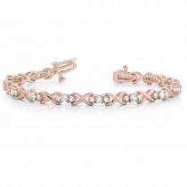 Diamond XOXO Twisted In Line Three Stone Bracelet 14k Rose Gold (1.95ct)