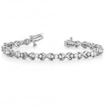 Diamond XOXO Twisted Three Stone Link Bracelet 14k White Gold (1.95ct)