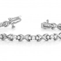 Diamond XOXO Twisted Three Stone Link Bracelet 14k White Gold (1.95ct)