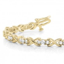Diamond XOXO Twisted Three Stone Link Bracelet 14k Yellow Gold (1.95ct)