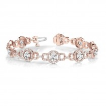 Luxury Halo Diamond Halo Link Bracelet 14k Rose Gold (5.00ct)