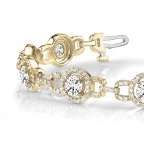 Luxury Halo Diamond Halo Link Bracelet 14k Yellow Gold (5.00ct)