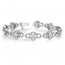 Luxury Halo Diamond Link Bracelet 18k White Gold (5.00ct)