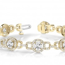 Luxury Halo Diamond Link Bracelet 18k Yellow Gold (5.00ct)
