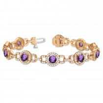 Luxury Halo Amethyst & Diamond Link Bracelet 14k Rose Gold (8.00ct)