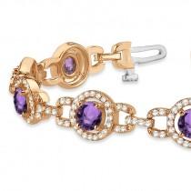 Luxury Halo Amethyst & Diamond Link Bracelet 14k Rose Gold (8.00ct)