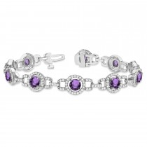 Luxury Halo Amethyst & Diamond Link Bracelet 14k White Gold (8.00ct)