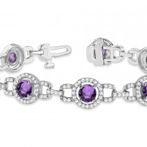 Luxury Halo Amethyst & Diamond Link Bracelet 14k White Gold (8.00ct)|escape