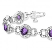 Luxury Halo Amethyst & Diamond Link Bracelet 14k White Gold (8.00ct)