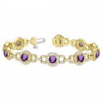 Luxury Halo Amethyst & Diamond Link Bracelet 14k Yellow Gold (8.00ct)