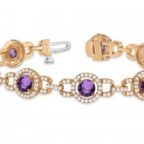 Luxury Halo Amethyst & Diamond Link Bracelet 18k Rose Gold (8.00ct)
