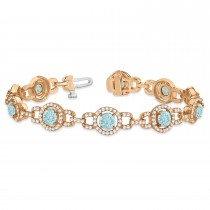Luxury Halo Aquamarine & Diamond Link Bracelet 14k Rose Gold (8.00ct)