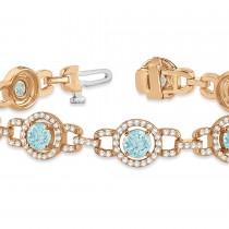 Luxury Halo Aquamarine & Diamond Link Bracelet 14k Rose Gold (8.00ct)