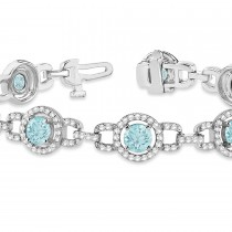 Luxury Halo Aquamarine & Diamond Link Bracelet 14k White Gold (8.00ct)