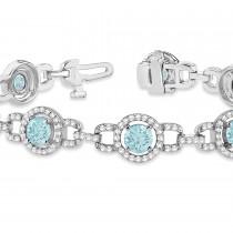 Luxury Halo Aquamarine & Diamond Link Bracelet 14k White Gold (8.00ct)|escape
