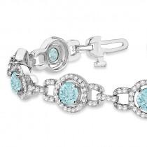 Luxury Halo Aquamarine & Diamond Link Bracelet 14k White Gold (8.00ct)