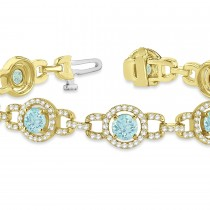Luxury Halo Aquamarine & Diamond Link Bracelet 18k Yellow Gold (8.00ct)