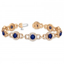 Luxury Halo Blue Sapphire & Diamond Link Bracelet 14k Rose Gold (8.00ct)