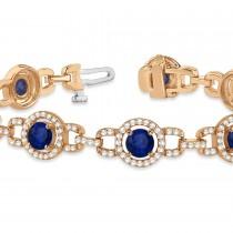 Luxury Halo Blue Sapphire & Diamond Link Bracelet 14k Rose Gold (8.00ct)