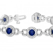 Luxury Halo Blue Sapphire & Diamond Link Bracelet 14k White Gold (8.00ct)