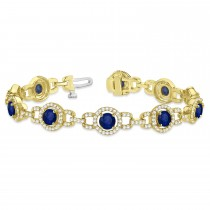 Luxury Halo Blue Sapphire & Diamond Link Bracelet 14k Yellow Gold (8.00ct)