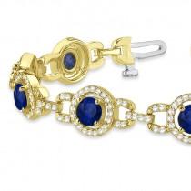 Luxury Halo Blue Sapphire & Diamond Link Bracelet 14k Yellow Gold (8.00ct)