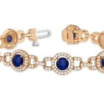 Luxury Halo Blue Sapphire & Diamond Link Bracelet 18k Rose Gold (8.00ct)|escape